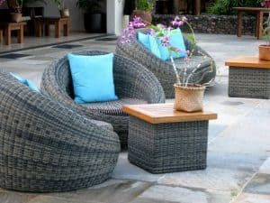 clean pavers with outdoor furniture