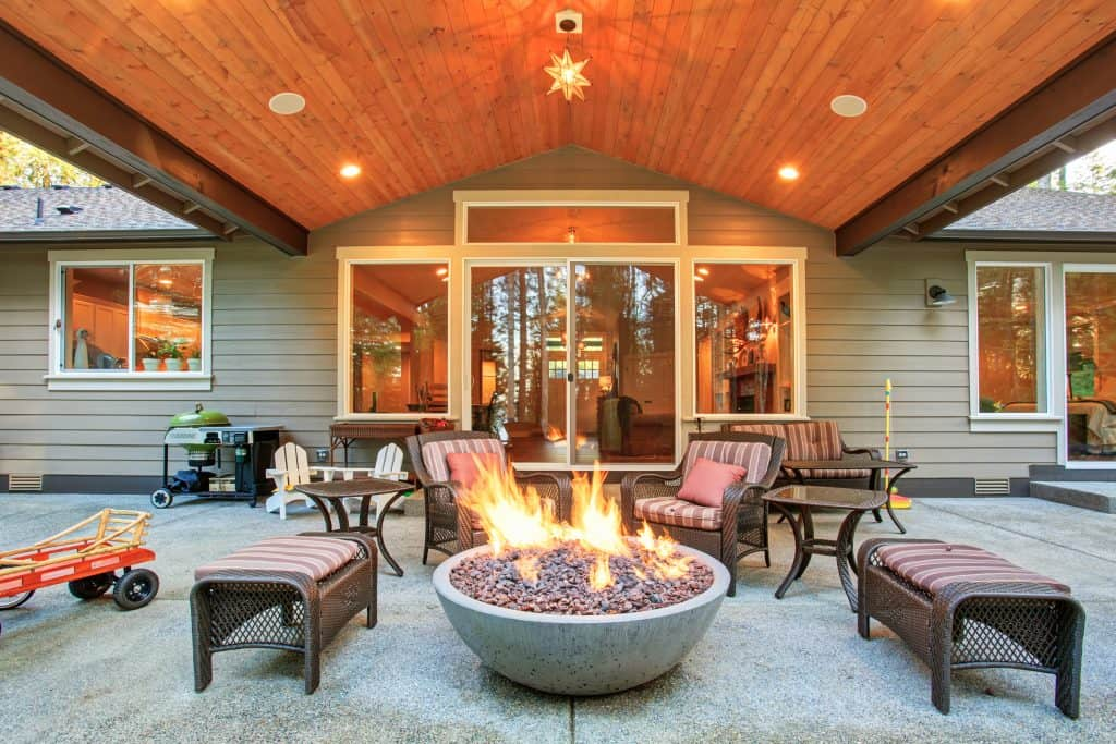 fire pit in outdoor area for heat and warmth